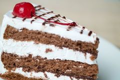 Chocolate cake with vanilla cream. On a plate Royalty Free Stock Images