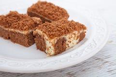 Chocolate cake with vanilla pudding. Chocolate cake filled with vanilla pudding Royalty Free Stock Image