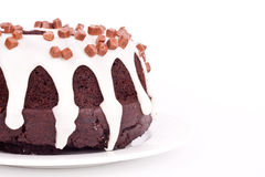Chocolate cake with vanilla sauce Stock Photos