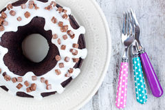 Chocolate cake with vanilla sauce Stock Photography
