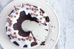 Chocolate cake with vanilla sauce Stock Photo