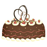 Chocolate cake. Vector illustration of chocolate cake with cream mousse and strawberries Royalty Free Stock Photo