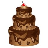 Chocolate Cake Vector Illustration with roses and cherry Stock Photos