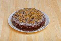 Chocolate cake with walnut and peach Royalty Free Stock Image