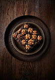 Chocolate Cake with Walnuts Royalty Free Stock Images