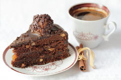 Chocolate cake with walnuts Stock Images