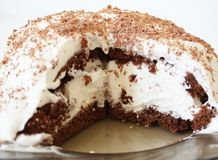 Chocolate cake with whipped cream. The chocolate cake with whipped cream decorated with grated chocolate, a sectional view stock photos
