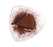 Chocolate Cake with white background. Chocolate cake slice with curl on white background Royalty Free Stock Photos