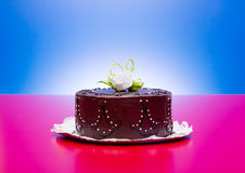 Chocolate cake with white candy rose decoration Stock Photos
