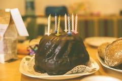 Chocolate Cake in White Ceramic Plate Royalty Free Stock Photos