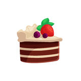 Chocolate cake with white cream and strawberry on top Royalty Free Stock Photography