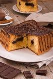 Chocolate cake. Chocolate cake on white dish stock photography