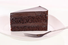 Chocolate cake on white dish Royalty Free Stock Image