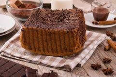 Chocolate cake. Chocolate cake on white dish royalty free stock image