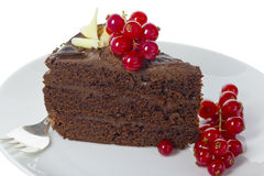 Chocolate cake on a white plate. Stock Photography