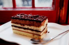 Chocolate opera cake Royalty Free Stock Photo