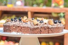 Chocolate cake on white plate Stock Photo