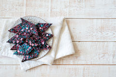 Chocolate cake on white wooden rustic table. Selective focus, copy space Royalty Free Stock Photo