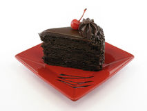 Chocolate cake whole plate Royalty Free Stock Images