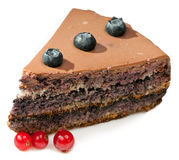 Chocolate cake with wild berries Royalty Free Stock Images
