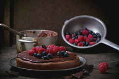 Chocolate Cake With Berries Royalty Free Stock Image