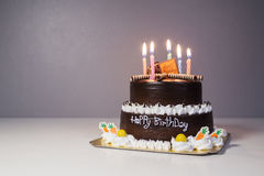 Free Chocolate Cake With Birthday Light Candle Royalty Free Stock Images - 94212959