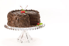 Chocolate Cake With Cherries Stock Photos