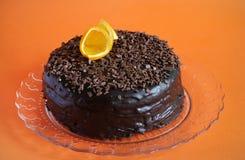 Chocolate Cake With Ganache, Shavings And Orange Peel Stock Photos
