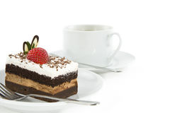 Chocolate Cake With Strawberry On Top Royalty Free Stock Photos