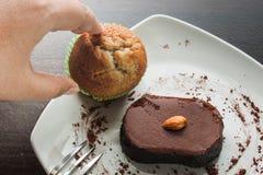 Chocolate cake withalmond. Stock Photos
