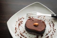 Chocolate cake withalmond. Royalty Free Stock Photos