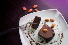 Chocolate cake withalmond. Stock Photo