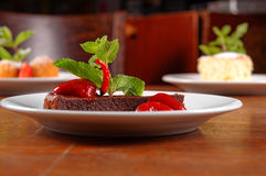 Chocolate cake wth strawberry and chilli Royalty Free Stock Photography