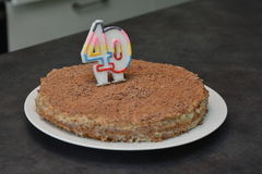 Chocolate cake for 40 years old. stock photography