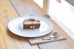 Chocolate Cake. Yummy Chocolate Cake with Marshmallow at the bottom Stock Photo