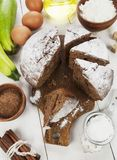 Chocolate cake with zucchini royalty free stock photo