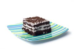 Chocolate Cake1. Chocolate cake on a green & blue plate Royalty Free Stock Image