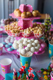 Chocolate cakepops on holiday dessert table at kid Royalty Free Stock Images