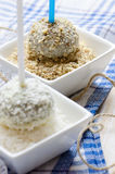 Chocolate cakepops with nuts and coconut flakes Royalty Free Stock Photo