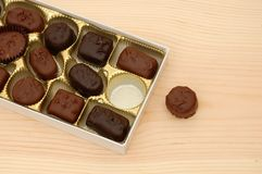 Chocolate cakes. Chocolate tray presents on a holiday background Stock Photography