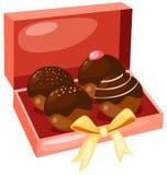 Chocolate cakes. Illustration of isolated box of chocolate cakes on white background Royalty Free Stock Image