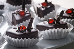 Chocolate cakes. Sweet chocolate cakes with cherries royalty free stock image