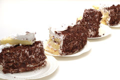 Chocolate cakes. 4 pieces chocolate cakes. isolated Stock Photo