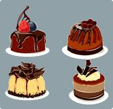 Chocolate cakes. Illustration of chocolate small cakes Stock Photo