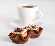 Chocolate Cakes and a cup of hot coffee Royalty Free Stock Image