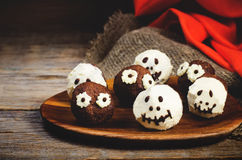 Chocolate cakes in the form of monsters and skeletons for kids Royalty Free Stock Photo