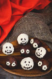 Chocolate cakes in the form of monsters and skeletons for kids Royalty Free Stock Image