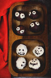 Chocolate cakes in the form of monsters and skeletons for kids Royalty Free Stock Photos