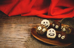 Chocolate cakes in the form of monsters and skeletons for kids Royalty Free Stock Images