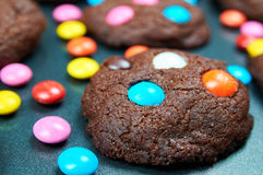 Chocolate cakes made by children Stock Image